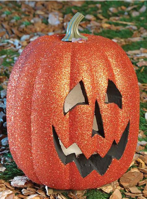 Leuchtende Glitzer Halloween Kürbis Figur 25 cm