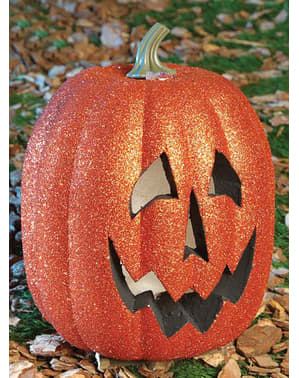 Calabaza 25 cm  luminosa con Purpurina Halloween