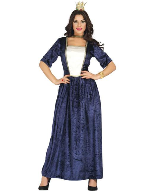 Disfraz de Dama Medieval azul para mujer