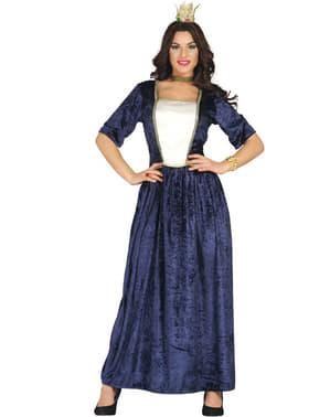 Blåt middelaldersk kostume til kvinder