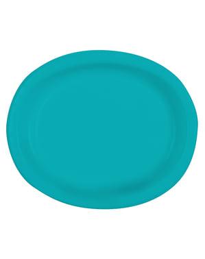 8 bandejas ovais cor azul água-marinha - Linha Cores Básicas