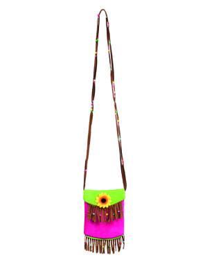 Bolso de Hippie con flor y flecos para mujer
