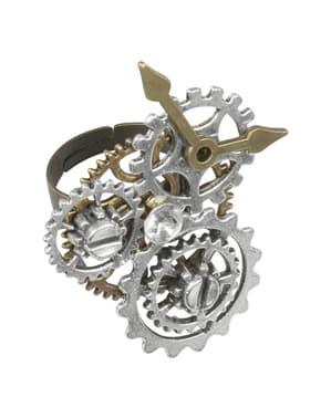 Anel Steampunk com rodas dentadas