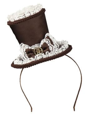 Mini Steampunk Haarreif mit Hut für Damen