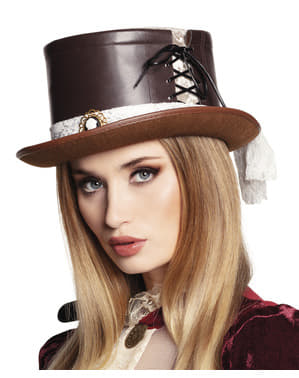 Steampunk hat med broche