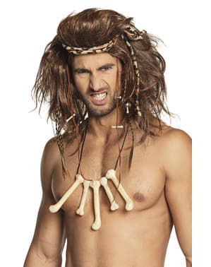 Caveman with bones necklace