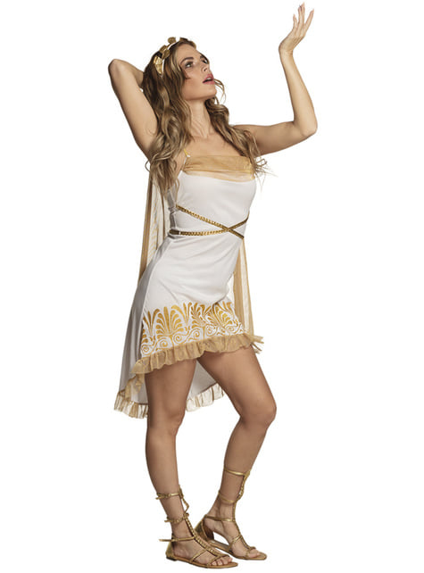 Fato de grega sexy dourado para mulher