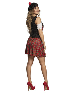 Fato de escocesa preto e vermelho para mulher