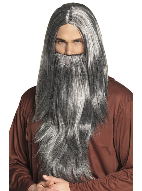 Magician wig with beard for men