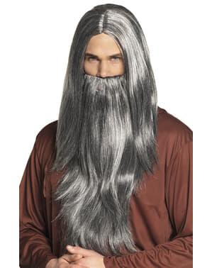 Tovenaar pruik met baard voor mannen