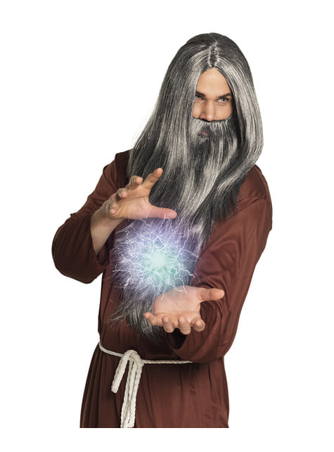 Peluca de mago con barba para hombre - para tu disfraz