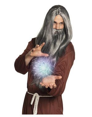 Perruque magicien avec barbe homme
