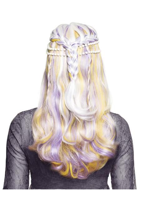Peluca de sirena con perlas para mujer - para tu disfraz