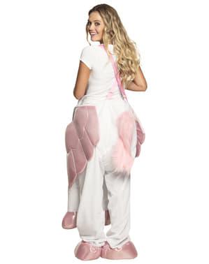 Costume Carry me da unicorno bianco e rosa per adulto