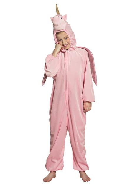 Disfraz de unicornio rosa onesie para niña