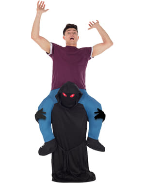 Oppustelig hættet mand Ride on kostume med røde øjne til mænd