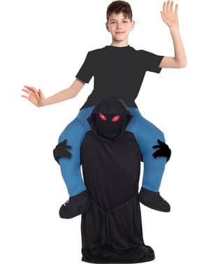 Draag me kostuum figuur met Capuchon en rode ogen voor kinderen