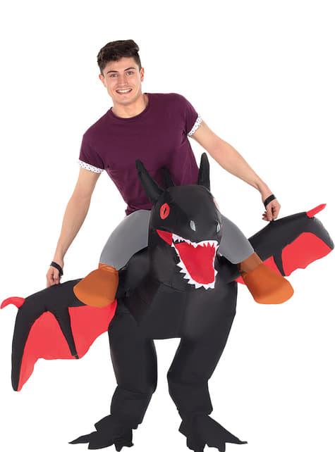 Déguisement dragon noir gonflable adulte