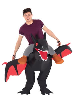Opblaasbaar zwart draak kostuum voor volwassenen