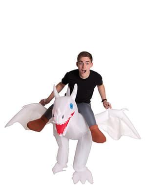 Oppustelig drage kostume hvidt til voksne