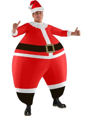 Червоний надувний костюм Діда Мороза для дорослих