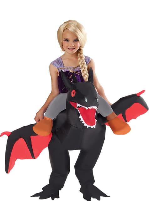 Aufblasbares schwarzer Drache Kostüm für Kinder