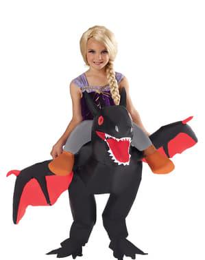 Opblaasbaar zwarte draak kostuum voor kinderen