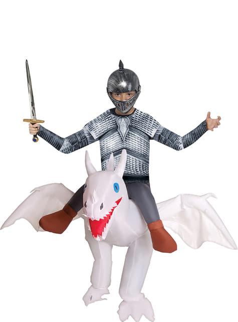 Opblaasbaar witte draak kostuum voor kinderen