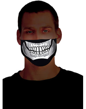 Media máscara de esqueleto luminoso para adulto