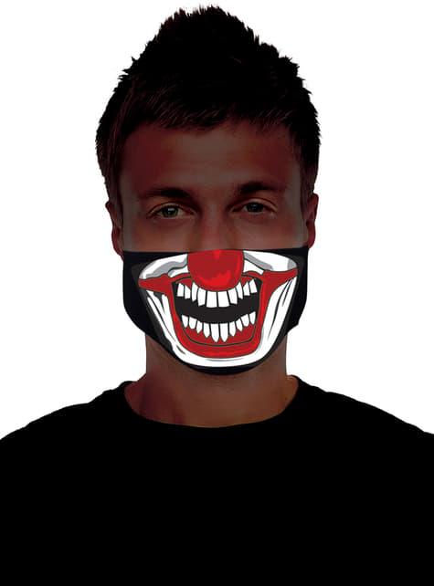 Meia máscara de palhaço assassino luminoso para adulto