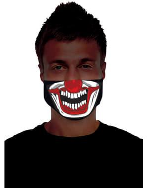 Mezza maschera di pagliaccio assassino luminoso per adulto