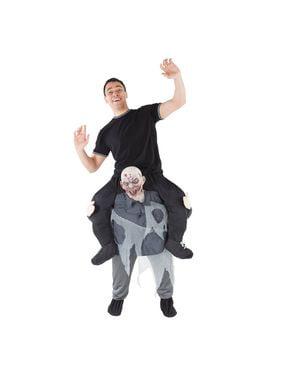 Huckepack Kostüm Zombie grau für Erwachsene