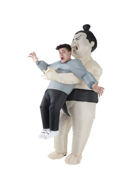 Inflatable sumo wrestler Pick Me Up costume for adults