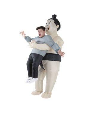 Opblaasbaar Sumo Worstelaar Pak Mij Op kostuum voor volwassenen
