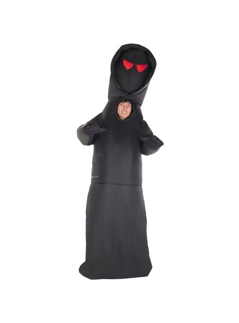 Inflatable hooded man costume with red eyes for men