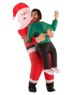 Oppustelig julemanden Pick Me Up kostume til voksne