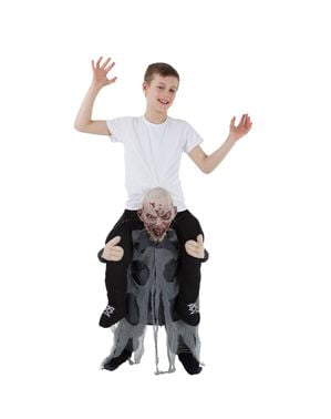Grå zombie Ri-På kostyme til barn