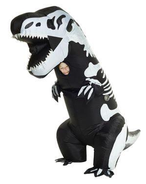 Aufblasbares T-Rex Skelett Kostüm für Kinder