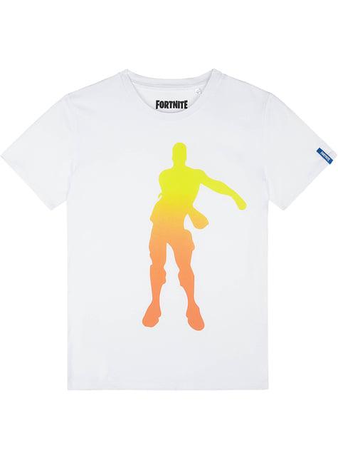 Hvid Fortnite Floss Dans T-Shirt til Børn