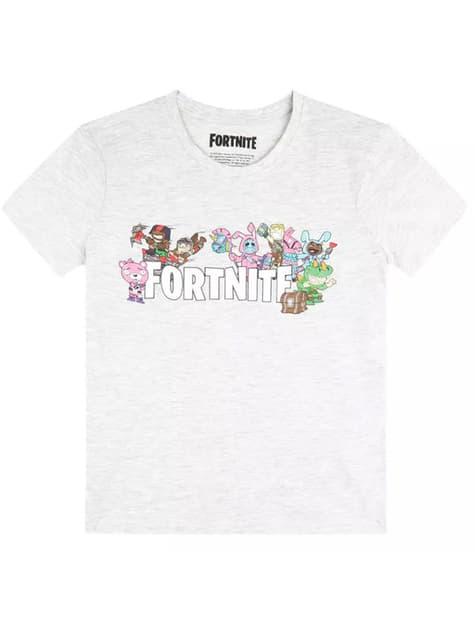 Szara koszulka Postacie z Fortnite dla dzieci