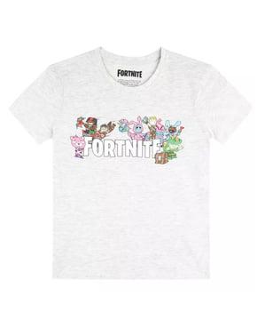 Grå Fortnite Karakter T-Shirt til Børn