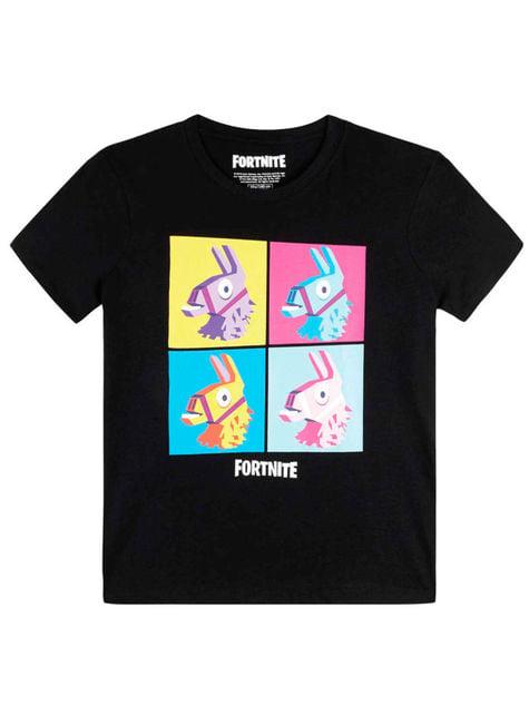 T-shirt Fortnite Lama negra infantil