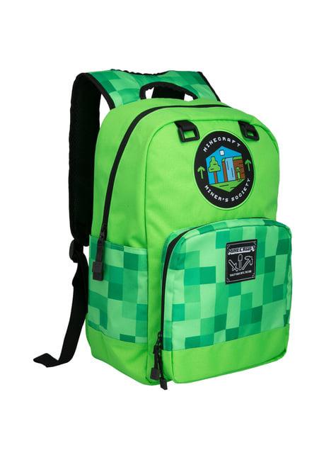 Mochila Minecraft Miner's Society verde
