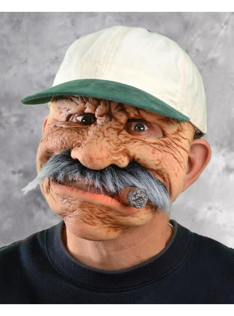Máscara de anciano con puro para hombre