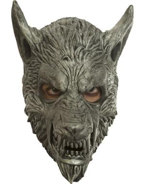 Máscara de lobisomem prateado para adulto