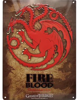 Dekorativ metallplatta Targaryen