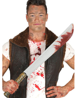 Long bloody machete