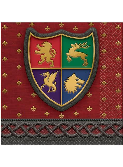 16 Serviettes en papier apéritif bouclier médiéval - Medieval Collection
