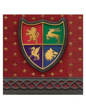 16 voorgerecht servetten met middeleeuws schil (13x13 cm) - Middeleeuwen Collectie