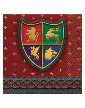 16 forretsservietter med middelalderlige skjol (13x13 cm) - Medieval Collection